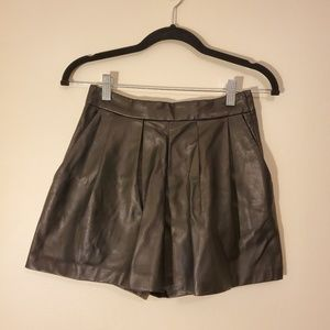 H&M - High Waisted Black Pleather Pleated Shorts